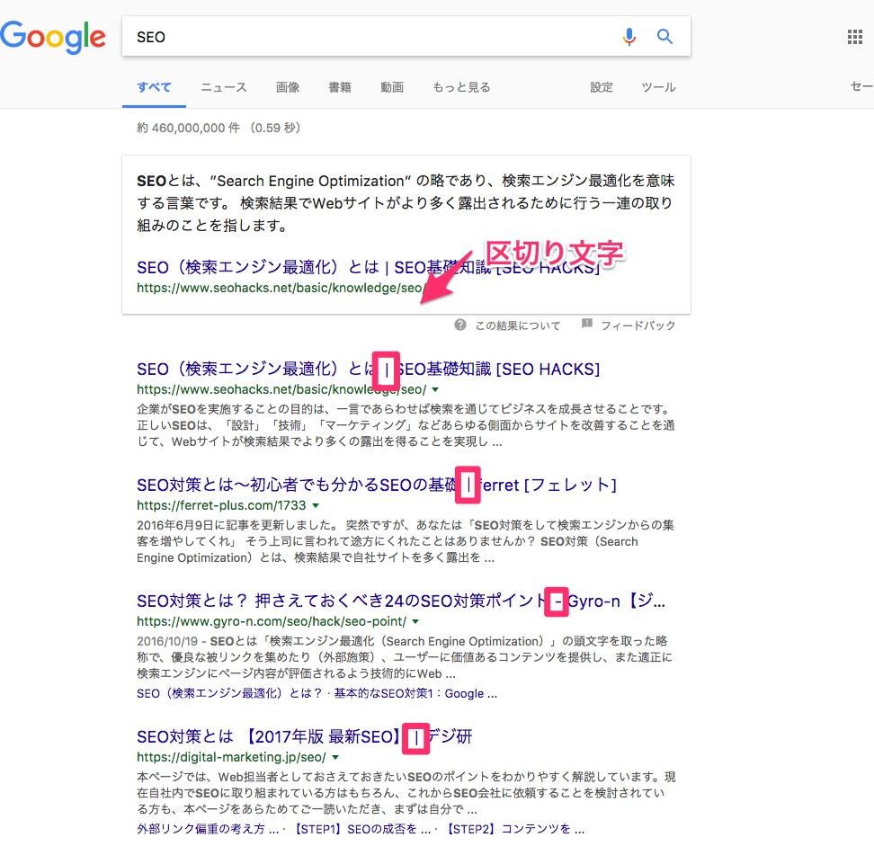 グーグルの検索結果