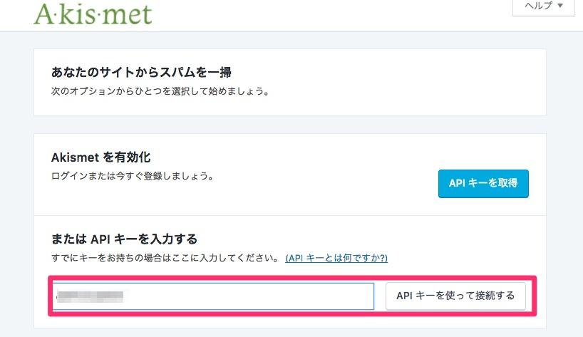 APIキーを入力後、「APIキー使って接続する」をクリック