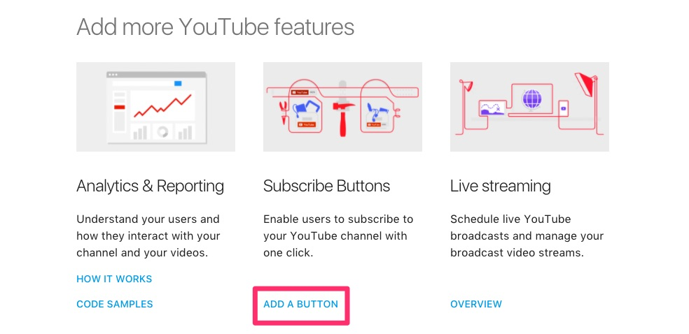 Subscribe Buttons>ADD A BUTTON
