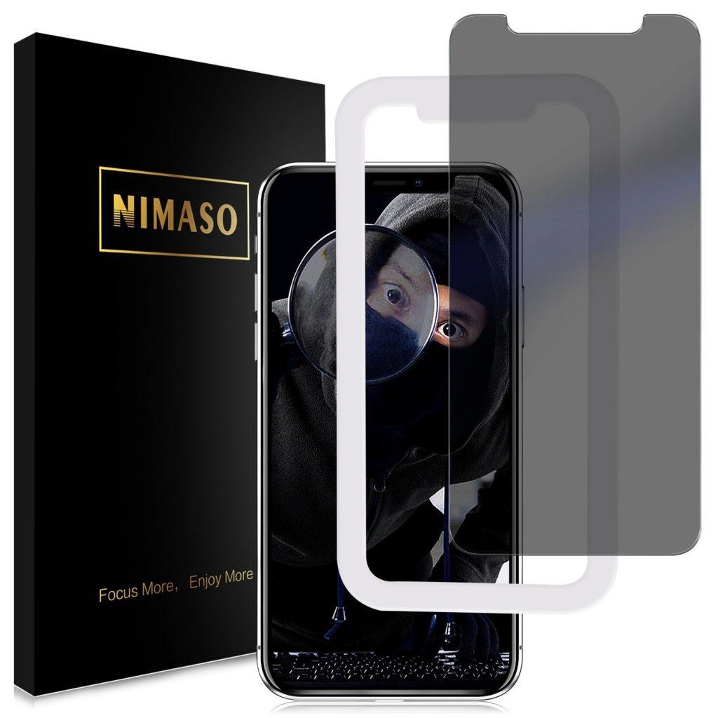 【覗き見防止】Nimaso_iPhone_X_用_強化ガラス液晶保護フィルム_ガイド枠付き