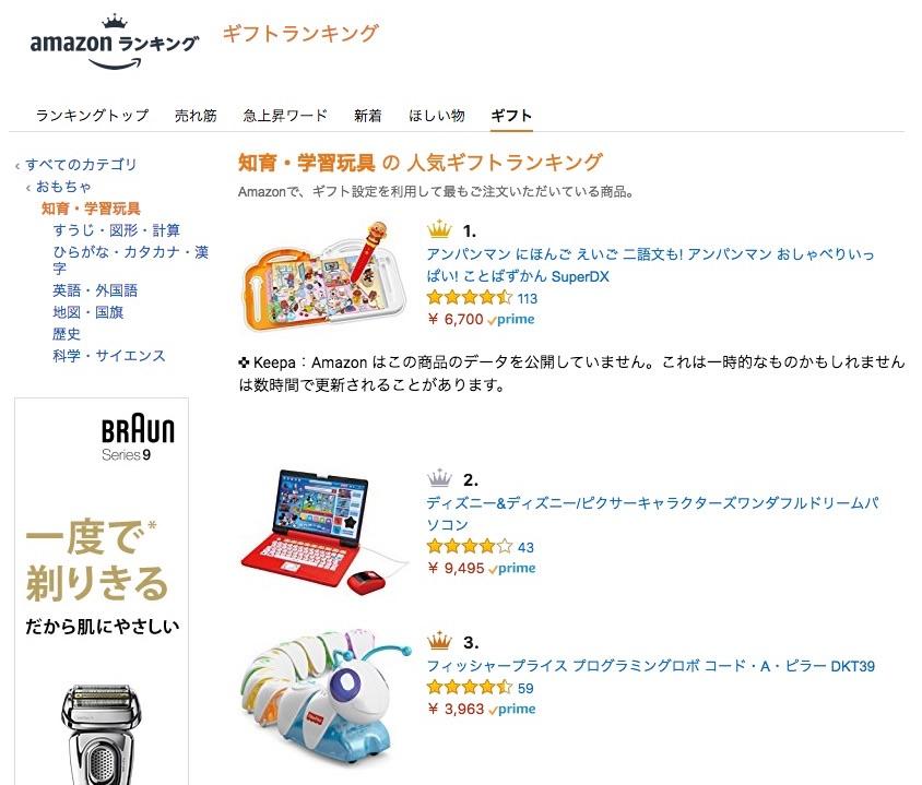 Amazon 知育玩具の人気売れ筋ランキング
