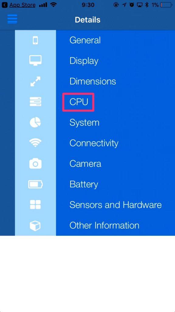 「CPU」をタップ