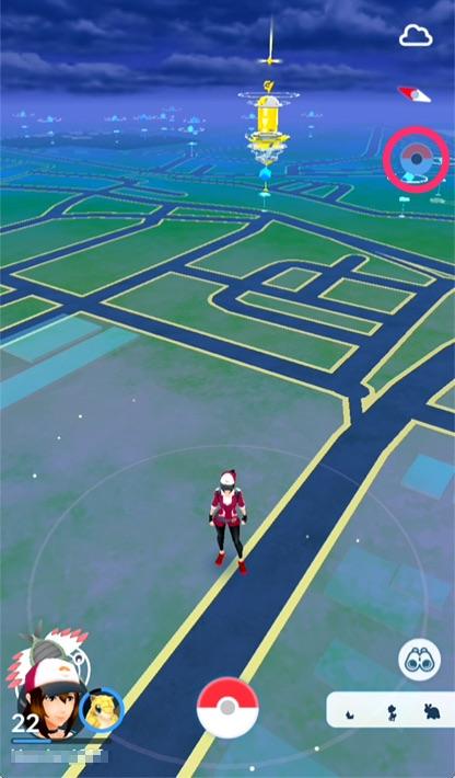 接続完了すると、フィールド画面右上のモンスターボールアイコンが表示される。