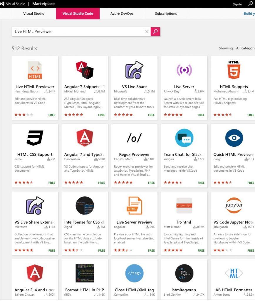 Marketplaceのフォームからキーワード検索し様々な拡張機能を見つけることができる。